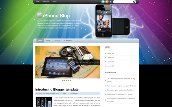 iphone blog blogger template